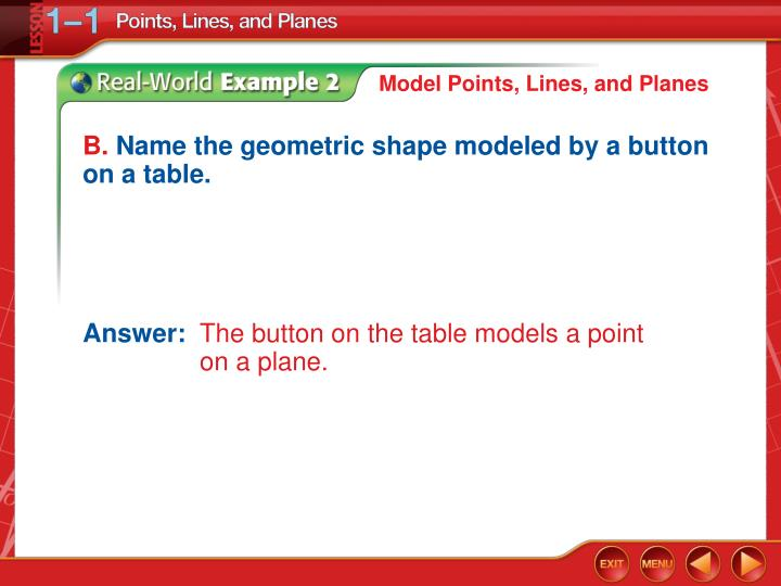 Model Points, Lines, and Planes