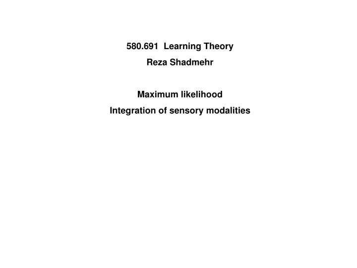 580.691  Learning Theory