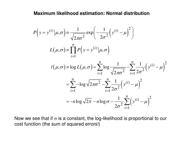 Maximum likelihood estimation: Normal distribution