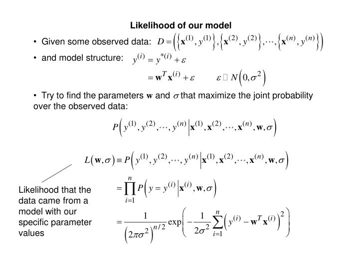 Likelihood of our model
