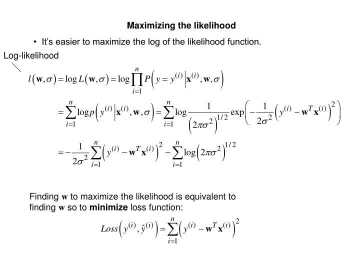 Maximizing the likelihood