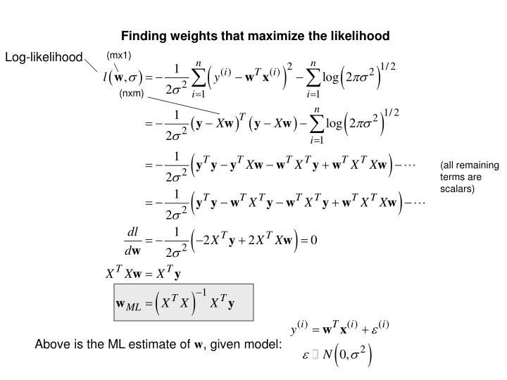 Finding weights that maximize the likelihood