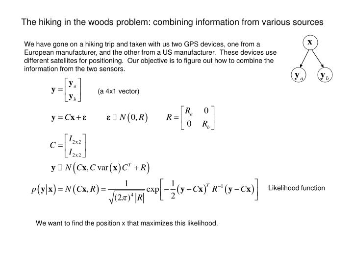 The hiking in the woods problem: combining information from various sources