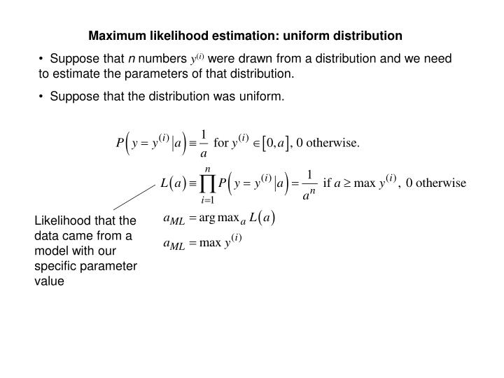 Maximum likelihood estimation: uniform distribution