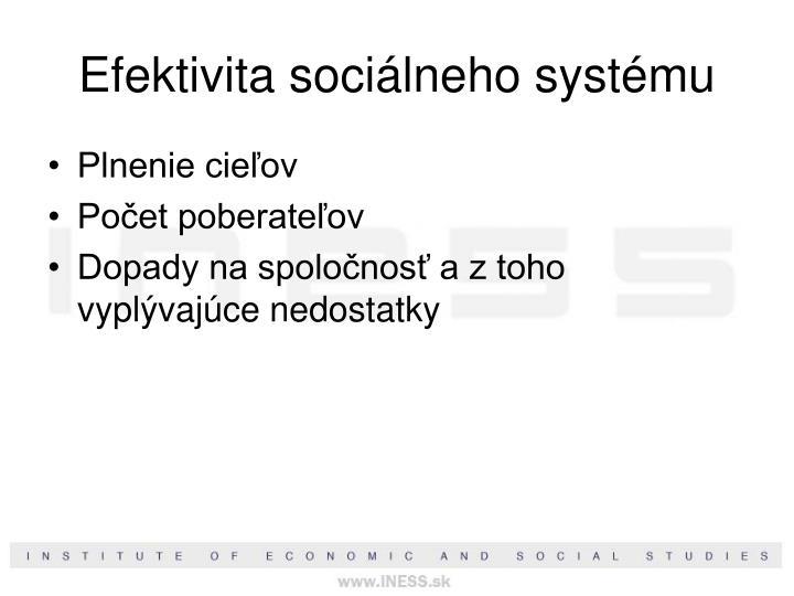 Efektivita sociálneho systému