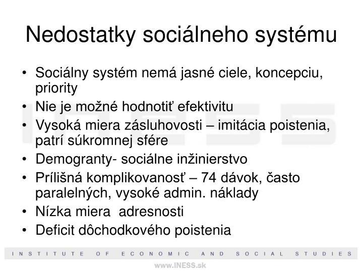 Nedostatky sociálneho systému