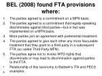 bel 2008 found fta provisions where