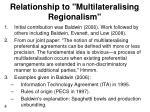 relationship to multilateralising regionalism