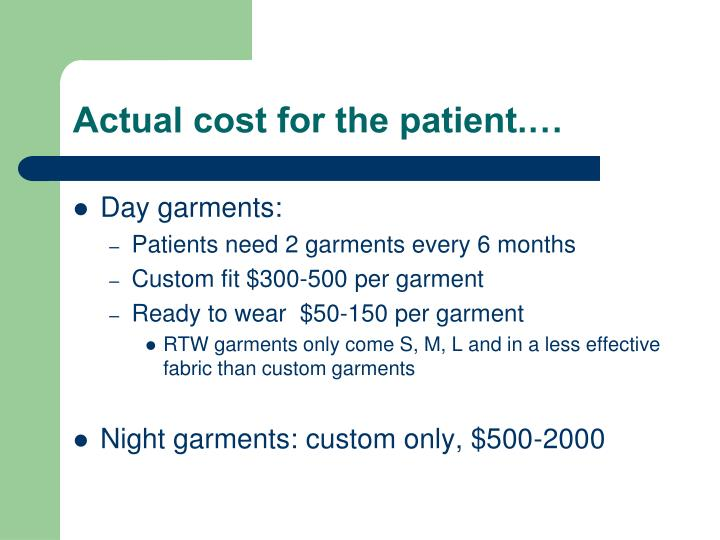 Actual cost for the patient.…
