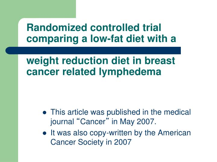 Randomized controlled trial comparing a low-fat diet with a