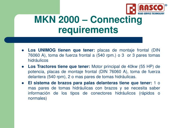 MKN 2000 – Connecting requirements