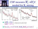 cdf measures b s d s p needed for b s mixing