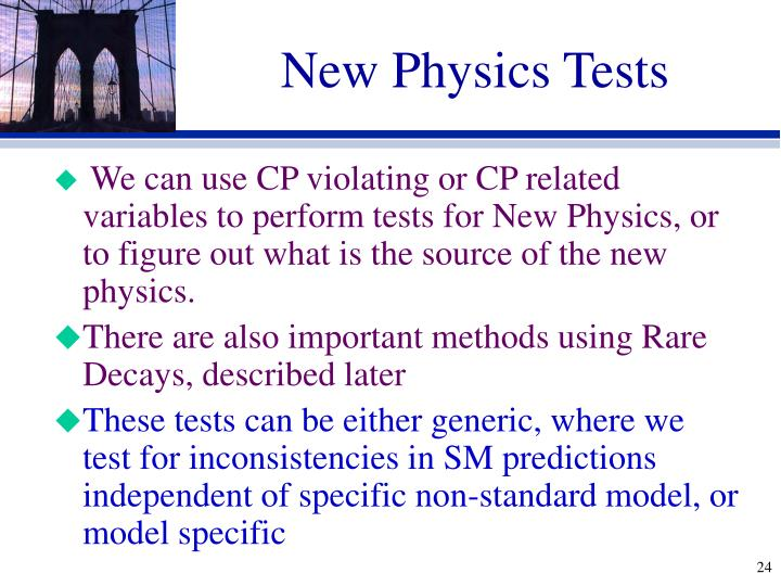 New Physics Tests