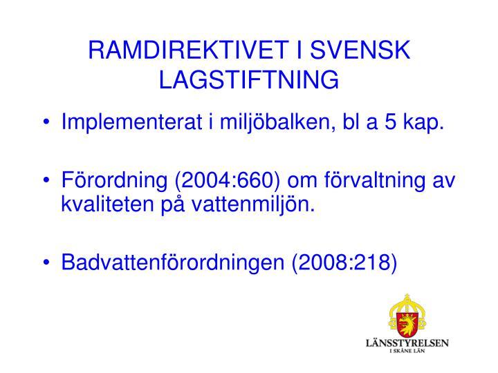 RAMDIREKTIVET I SVENSK LAGSTIFTNING