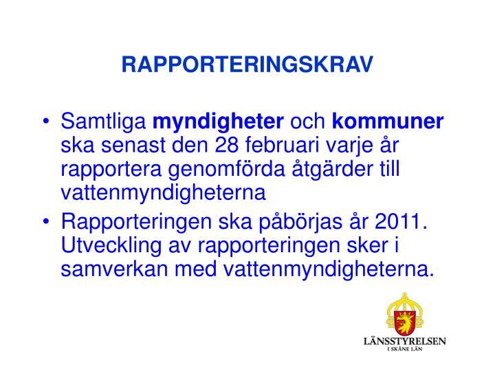 RAPPORTERINGSKRAV