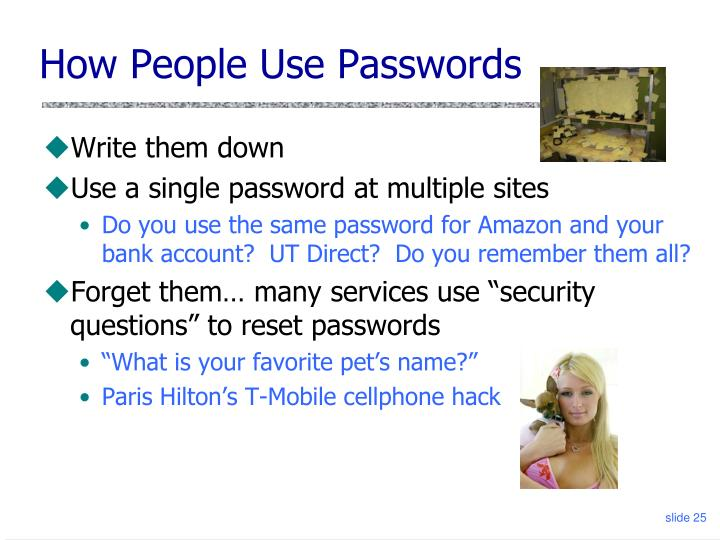 How People Use Passwords