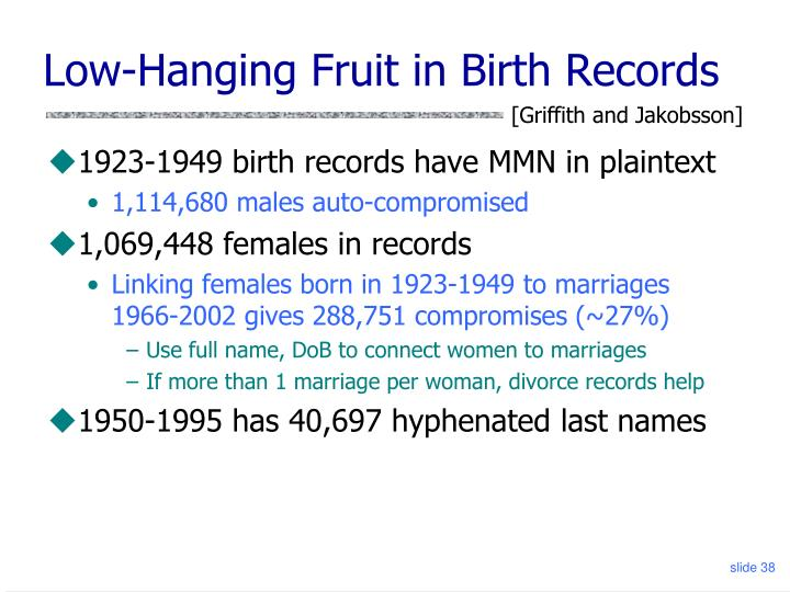 Low-Hanging Fruit in Birth Records