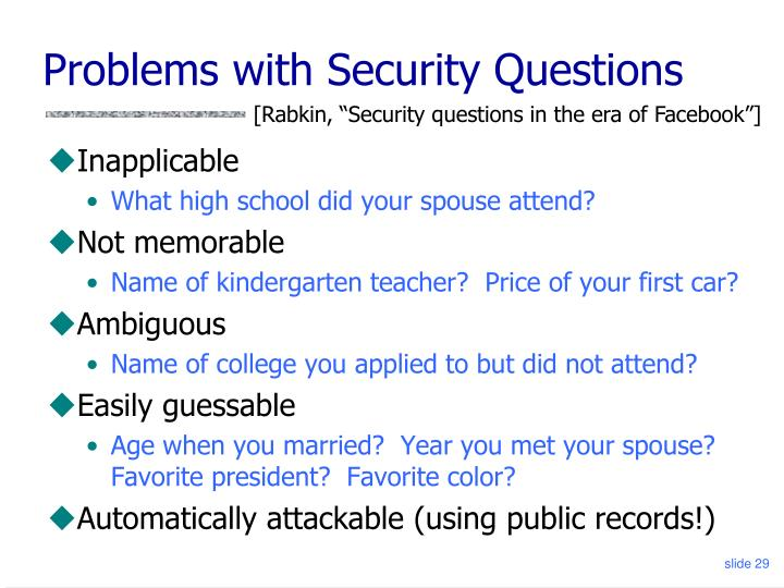 Problems with Security Questions