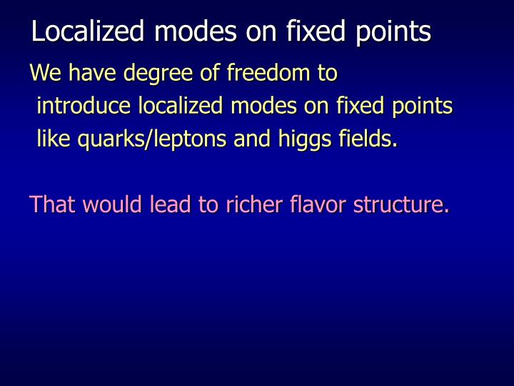 Localized modes on fixed points