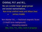 orbifold m f and w l