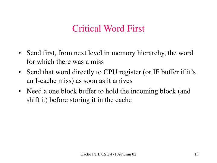 Critical Word First