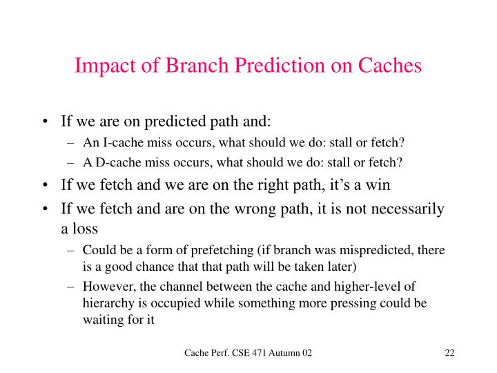 Impact of Branch Prediction on Caches