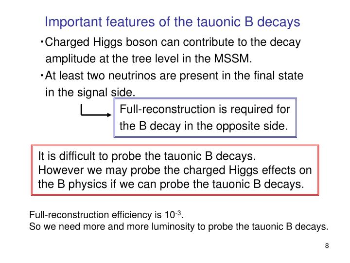 Important features of the tauonic B decays