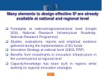 many elements to design effective s 3 are already available at national and regional level