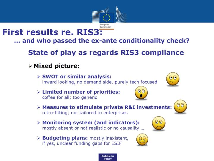 First results re. RIS3: