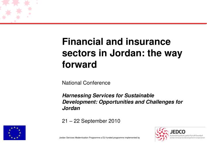 Financial and insurance sectors in Jordan: the way forward