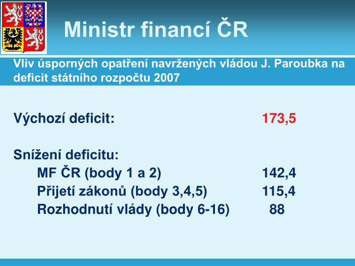 Vliv úsporných opatření navržených vládou J. Paroubka na deficit státního rozpočtu 2007