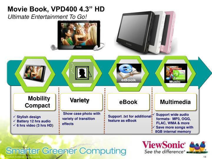 """Movie Book, VPD400 4.3"""" HD"""
