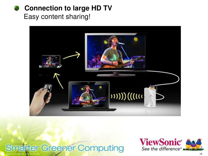 Connection to large HD TV