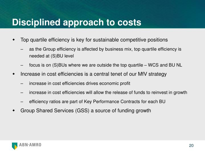 Disciplined approach to costs