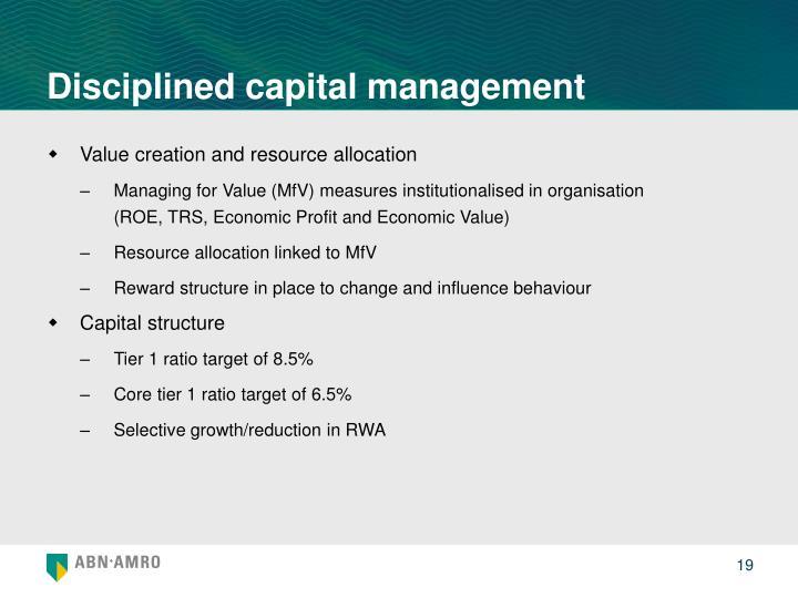 Disciplined capital management