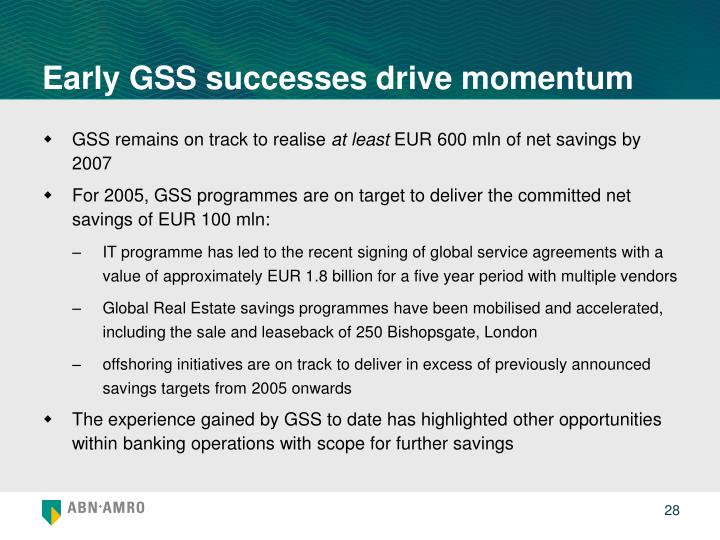 Early GSS successes drive momentum