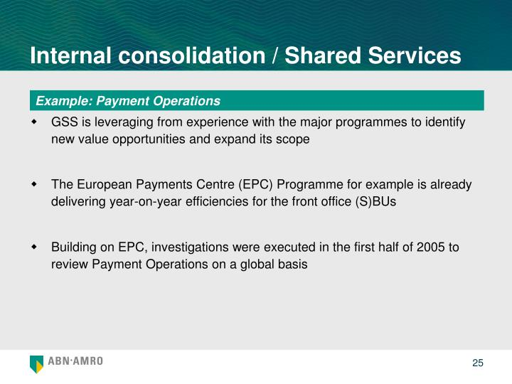 Internal consolidation / Shared Services