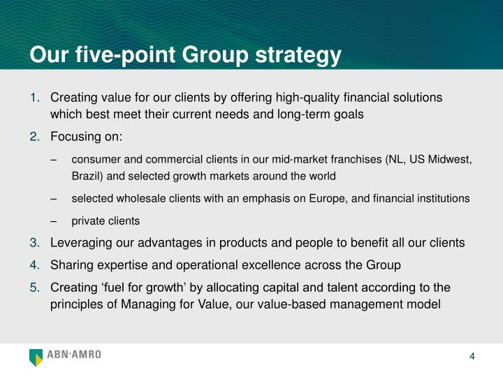 Our five-point Group strategy