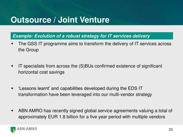 Outsource / Joint Venture