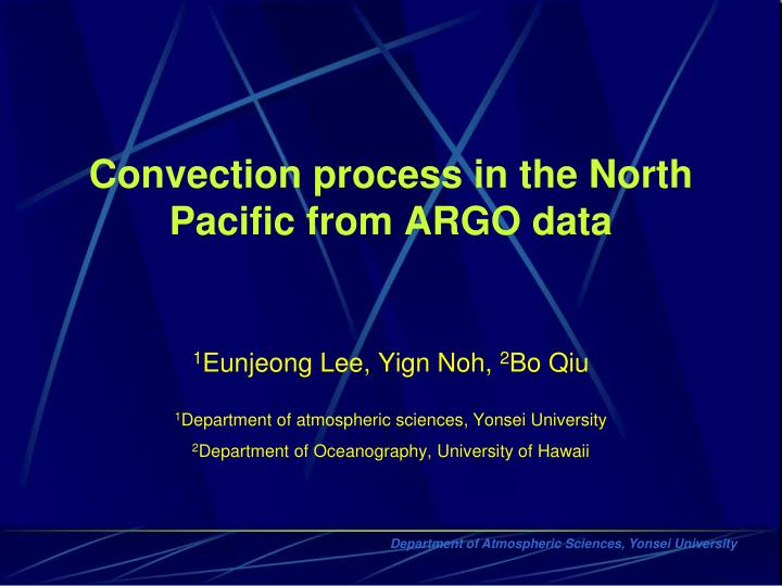Convection process in the north pacific from argo data