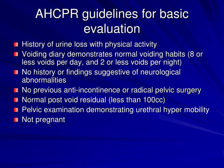 AHCPR guidelines for basic evaluation