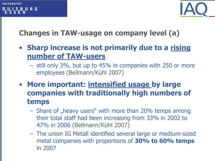 Changes in TAW-usage on company level (a)