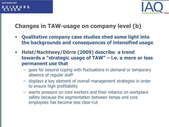 Changes in TAW-usage on company level (b)