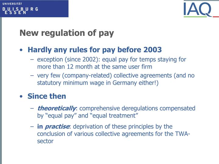 New regulation of pay
