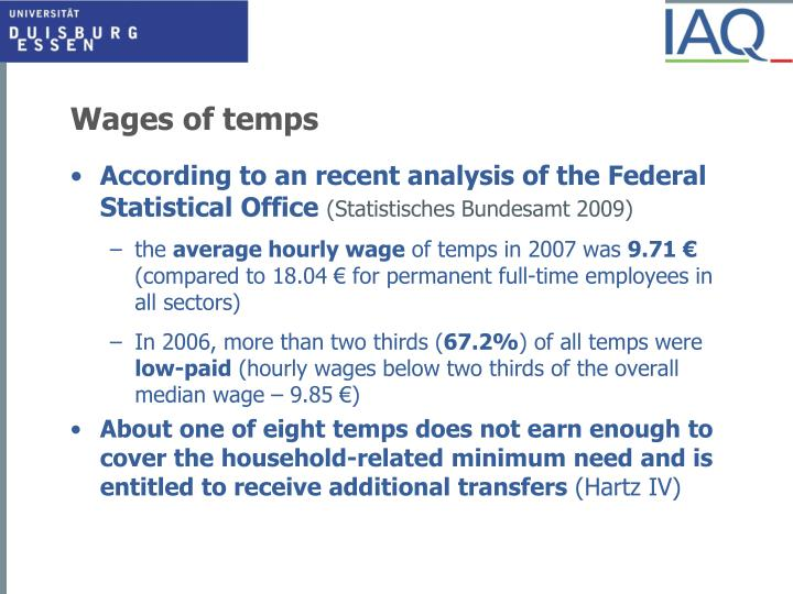 Wages of temps