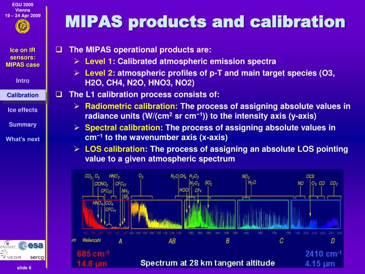 MIPAS products and calibration