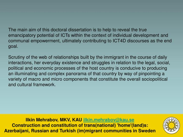 The main aim of this doctoral dissertation is to help to reveal the true emancipatory potential of ICTs within the context of individual development and communal empowerment, ultimately contributing to ICT4D discourses as the end goal.