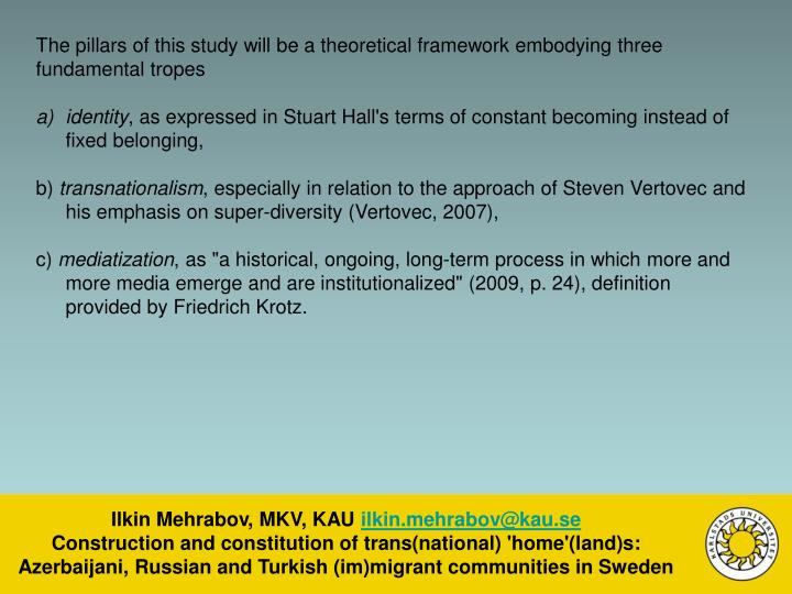 The pillars of this study will be a theoretical framework embodying three