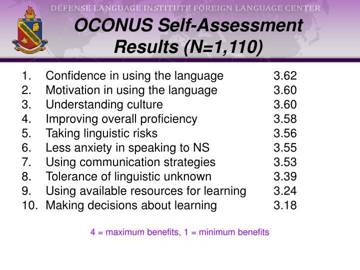 OCONUS Self-Assessment Results (N=1,110)