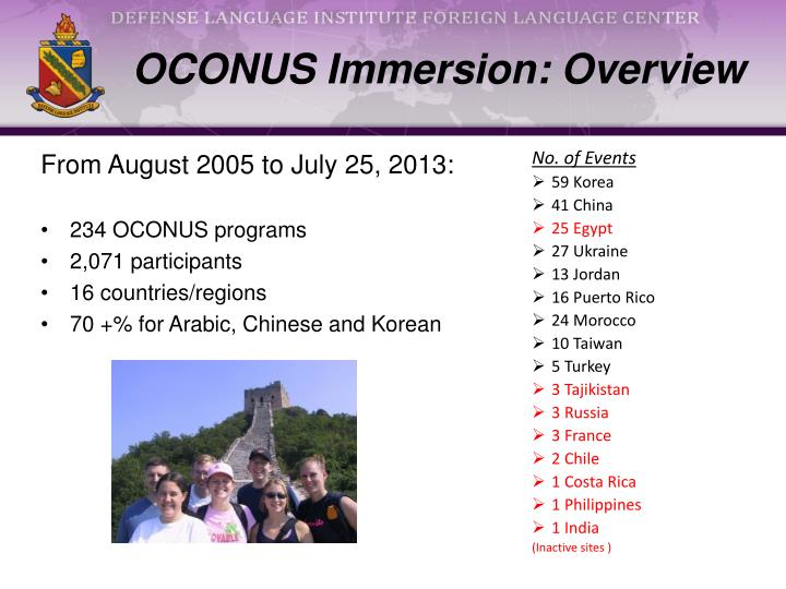OCONUS Immersion: Overview